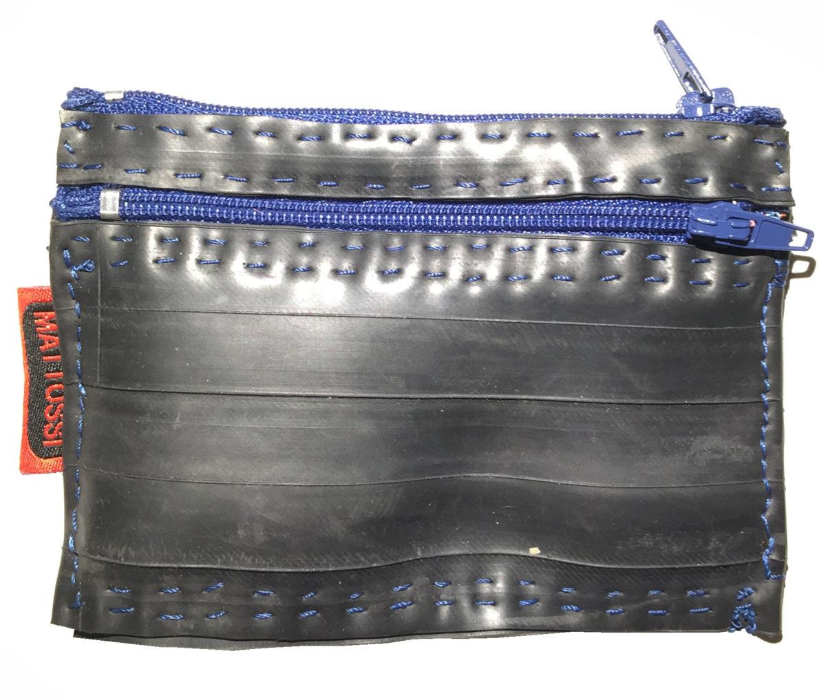 REF-00134 – Porte-monnaie avec 2 fermetures zip 10cm – fil bleu